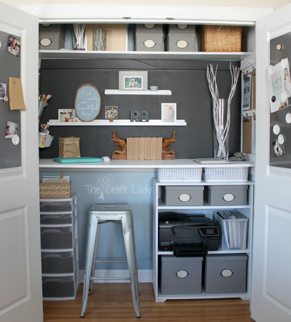 Home office in a closet from The Crazy Craft Lady. Tons of organized storage solutions packed into a tiny, yet functional space.