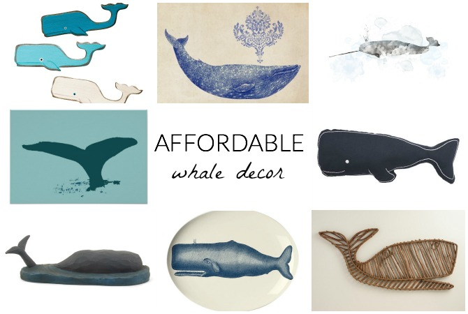 Love the whale trend in home decor? Don't want to break the bank? Check out this AMAZING list of AFFORDABLE whale decor!