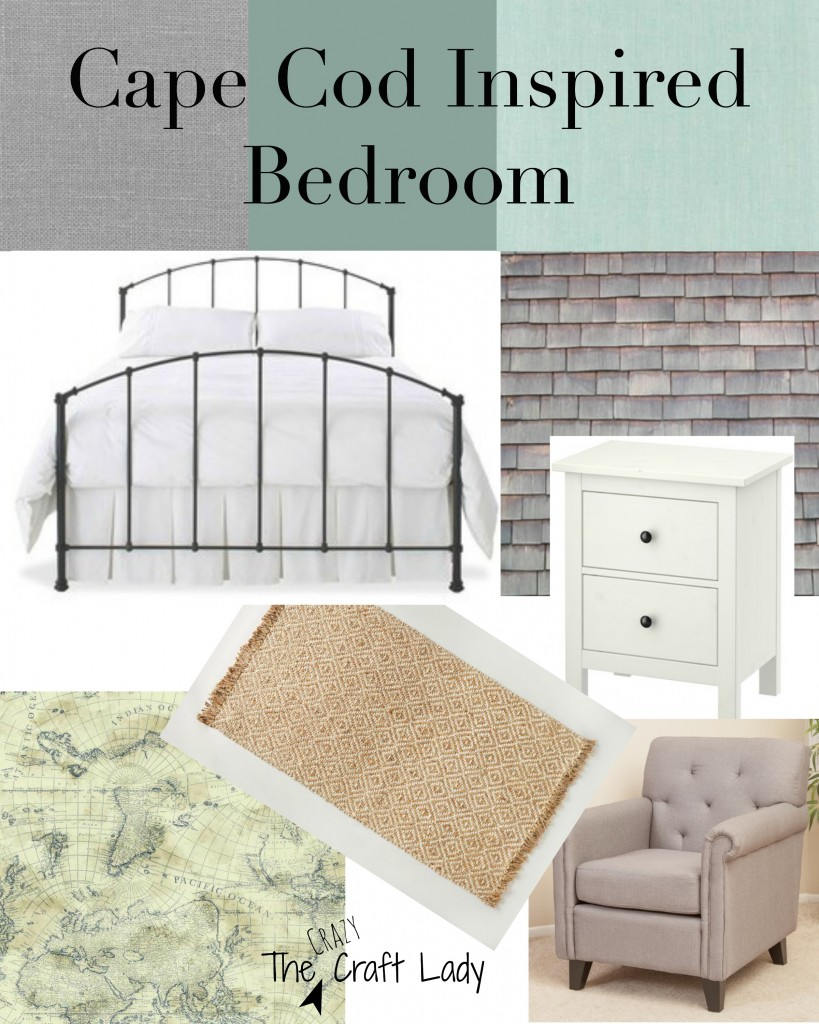 Mood Board for a Cape Cod inspired bedroom