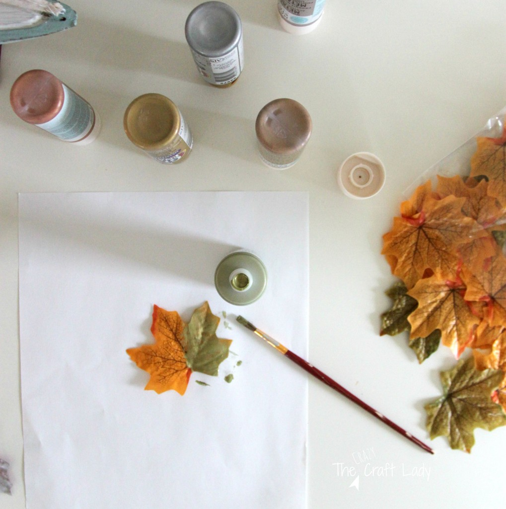 Dollar Store metallic leaves - the perfect dollar store craft for fall!
