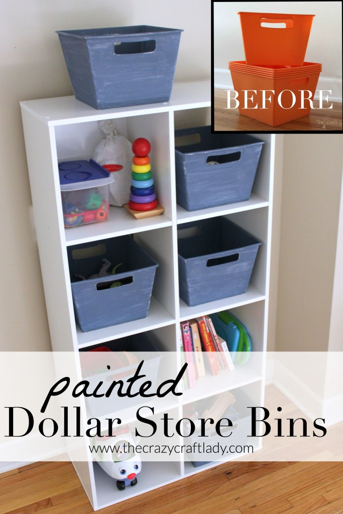 Painted Dollar Store Bins - with just a few simple steps, you can transform inexpensive plastic dollar store bins into stylish home storage to coordinate with your decor.