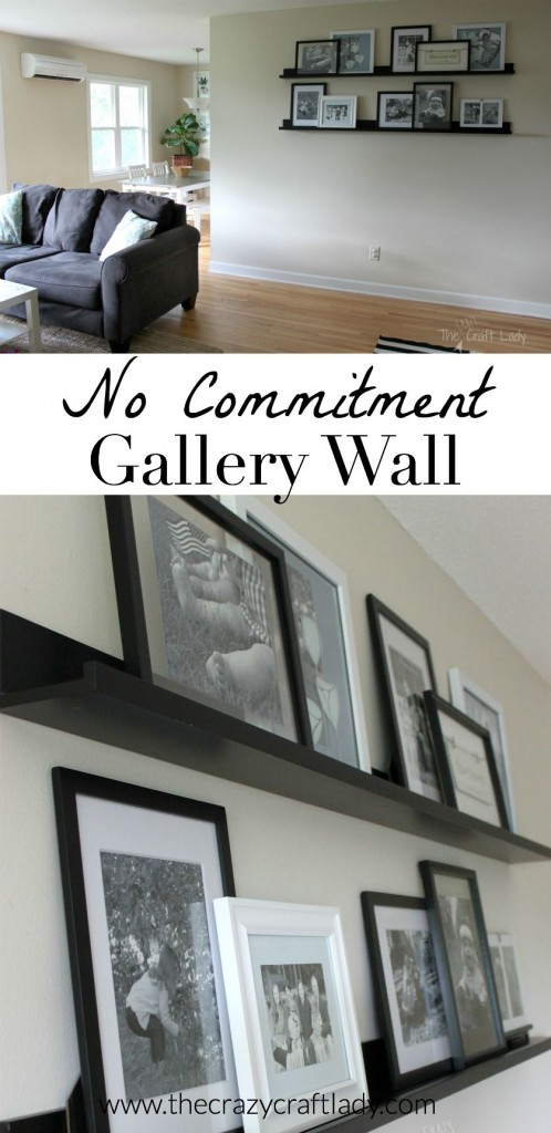 Creating A No Commitment Gallery Wall. Use picture ledges and layer frames. You can rearrange whenever you want without nail holes in your wall. This is also a great way to change up seasonal decor.