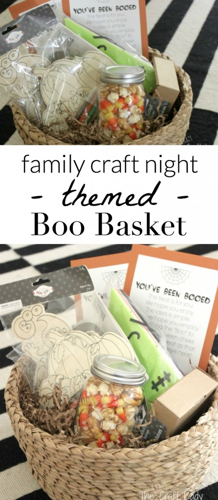 """Halloween Boo Basket with a free printable. Share a """"family craft night"""" themed Boo Basket filled with goodies with a friend or neighbor for a fun crafty Halloween tradition."""