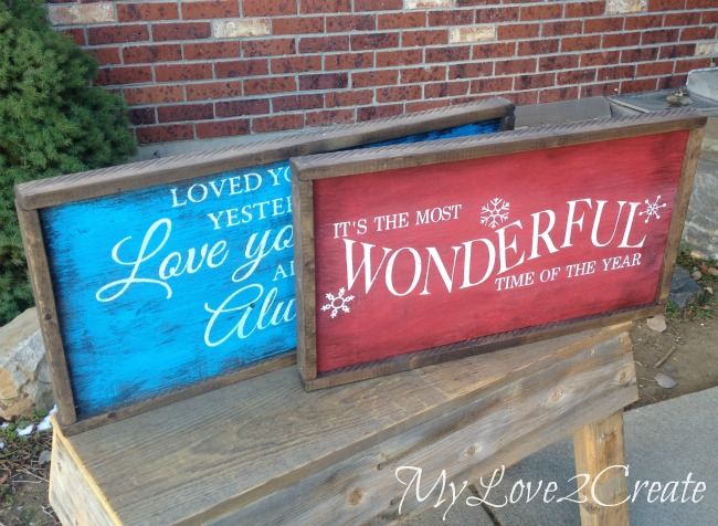 MyLove2Create, both signs on bench
