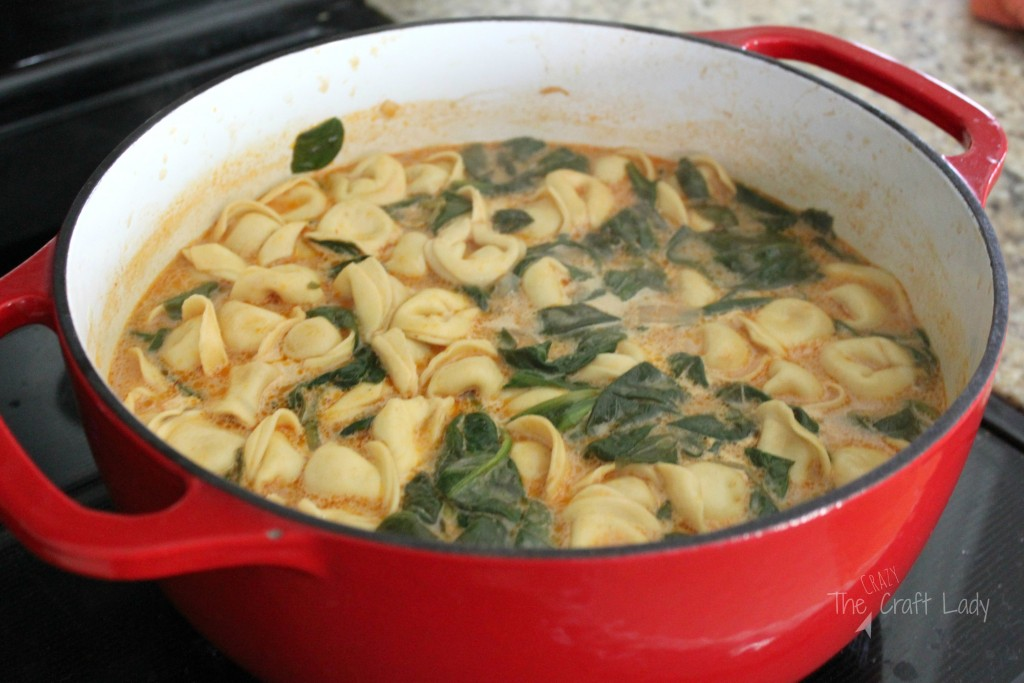 Spinach and Tortellini Tomato Soup - this soup is creamy, tasty, and a snap to whip up. Made with only 7 ingredients, this soup is perfect for a quick weeknight meal that the whole family will love!