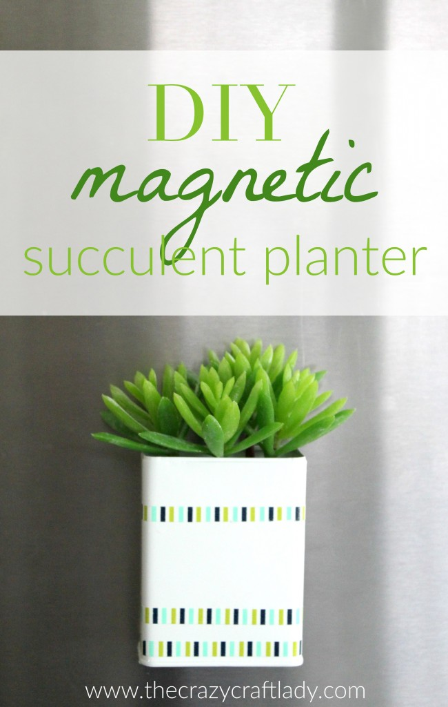 DIY Magnetic Succulent Planter - this super simple DIY upcycle craft project transforms an old pepper shaker into a beautiful magnetic planter for a succulent or other plant of choice.