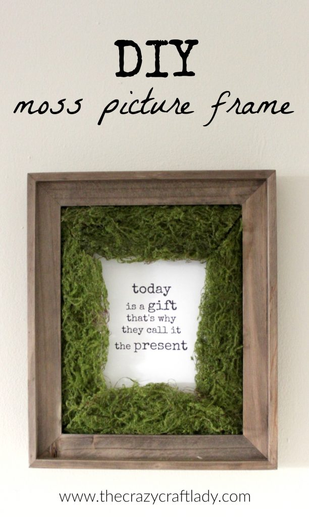 DIY Moss Photo Mat + A Free Printable - DIY this simple home decor craft! Did you know you can buy ribbon rolls of faux moss? Follow this tutorial to make a unique moss photo mat and feature a favorite image or print this FREE printable.