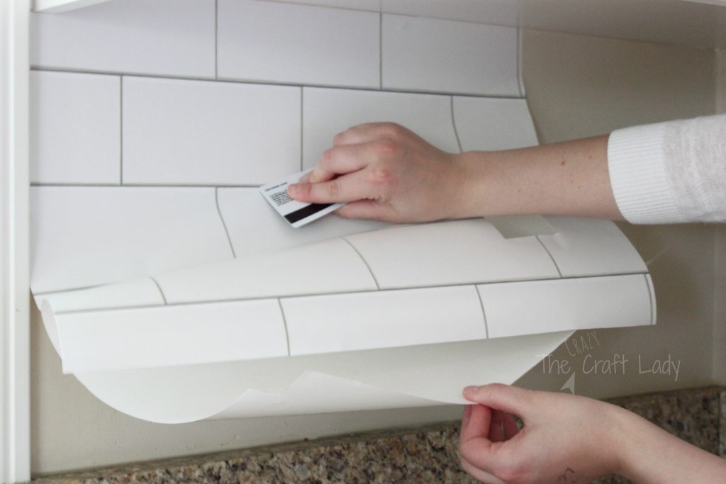 White Subway Tile Temporary Backsplash The Full Tutorial The Crazy Craft Lady