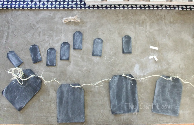 Follow this tutorial from The Crazy Craft Lady - after painting these DIY mini chalkboards, you can string them together to make a simple + rustic DIY mini chalkboard garland.
