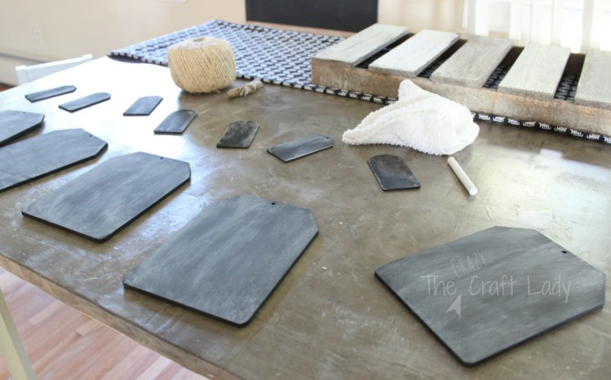 Follow this tutorial from The Crazy Craft Lady to make a simple + rustic DIY mini chalkboard garland. It's important to season any new chalkboard before using it. See how here!