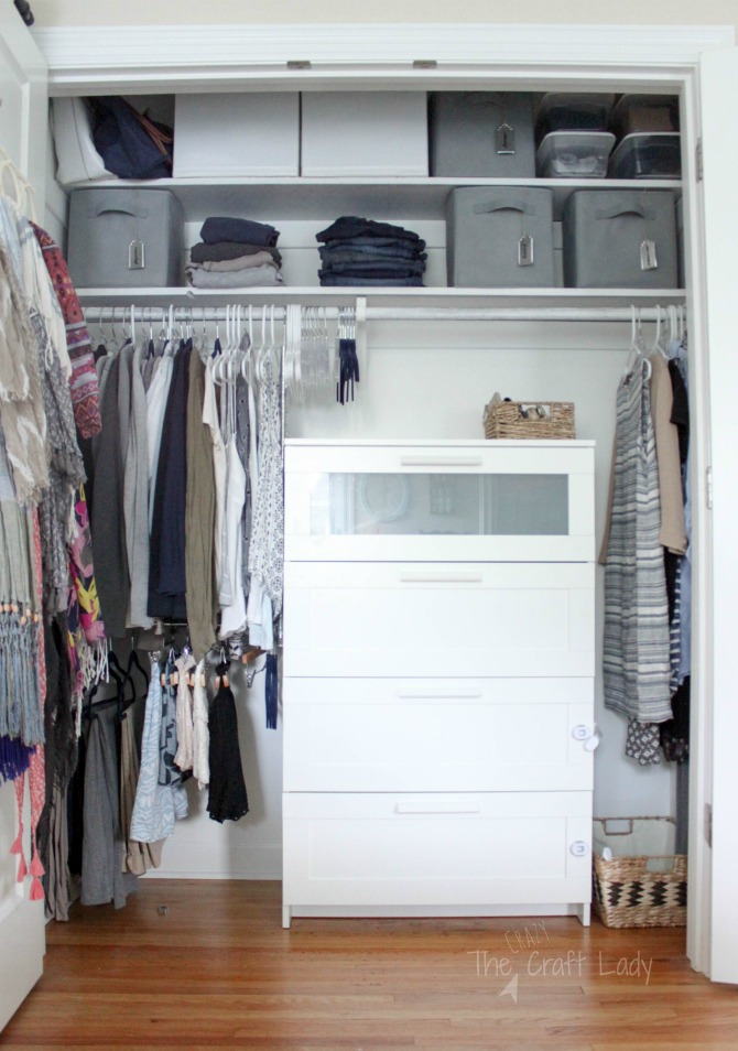 3 tips for small closet organizing - adding a dresser INSIDE of your closet to maximize clothes storage space