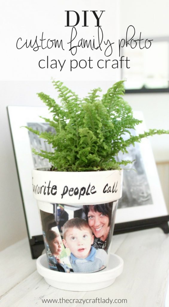DIY custom family photo clay pot craft - make a photo gift with just a few simple craft supplies