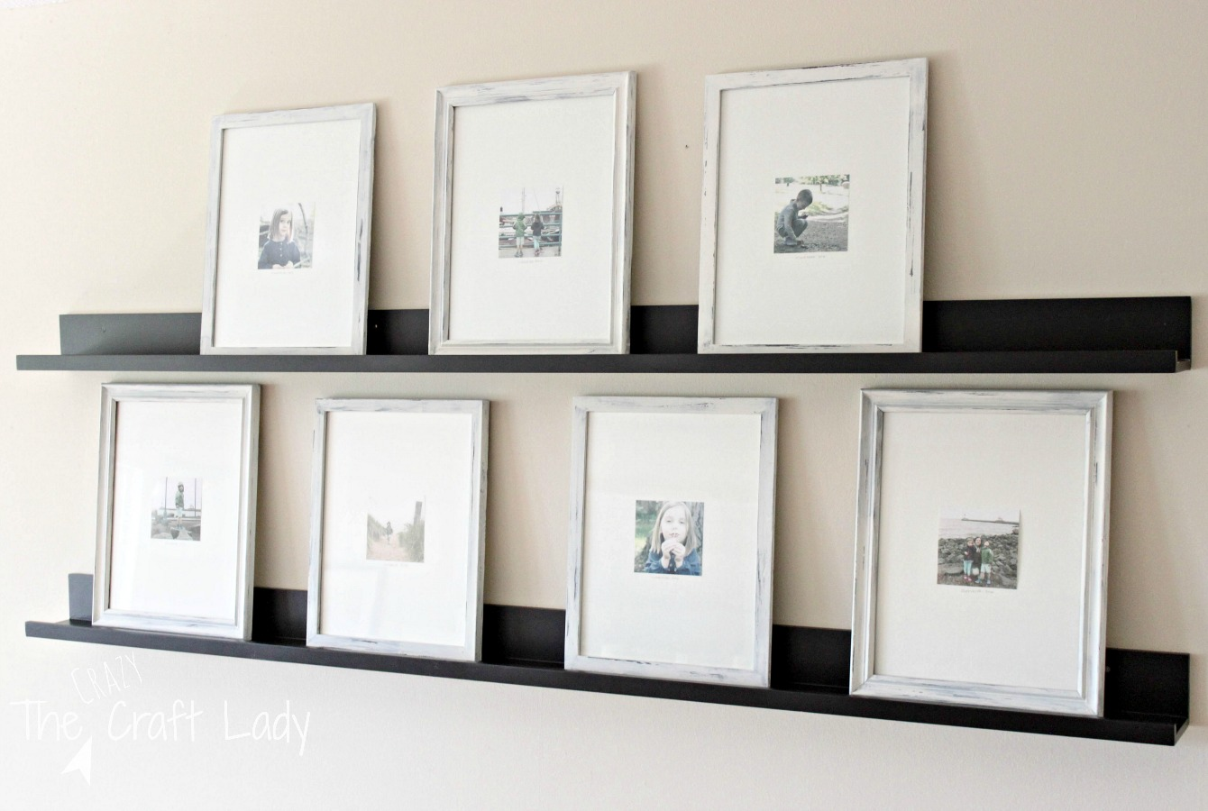 DIY distressed painted picture frames for a gallery wall