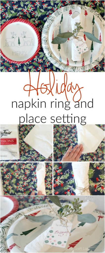DIY Holiday Napkin Rings and Place Settings in one - and FREE printable name tags