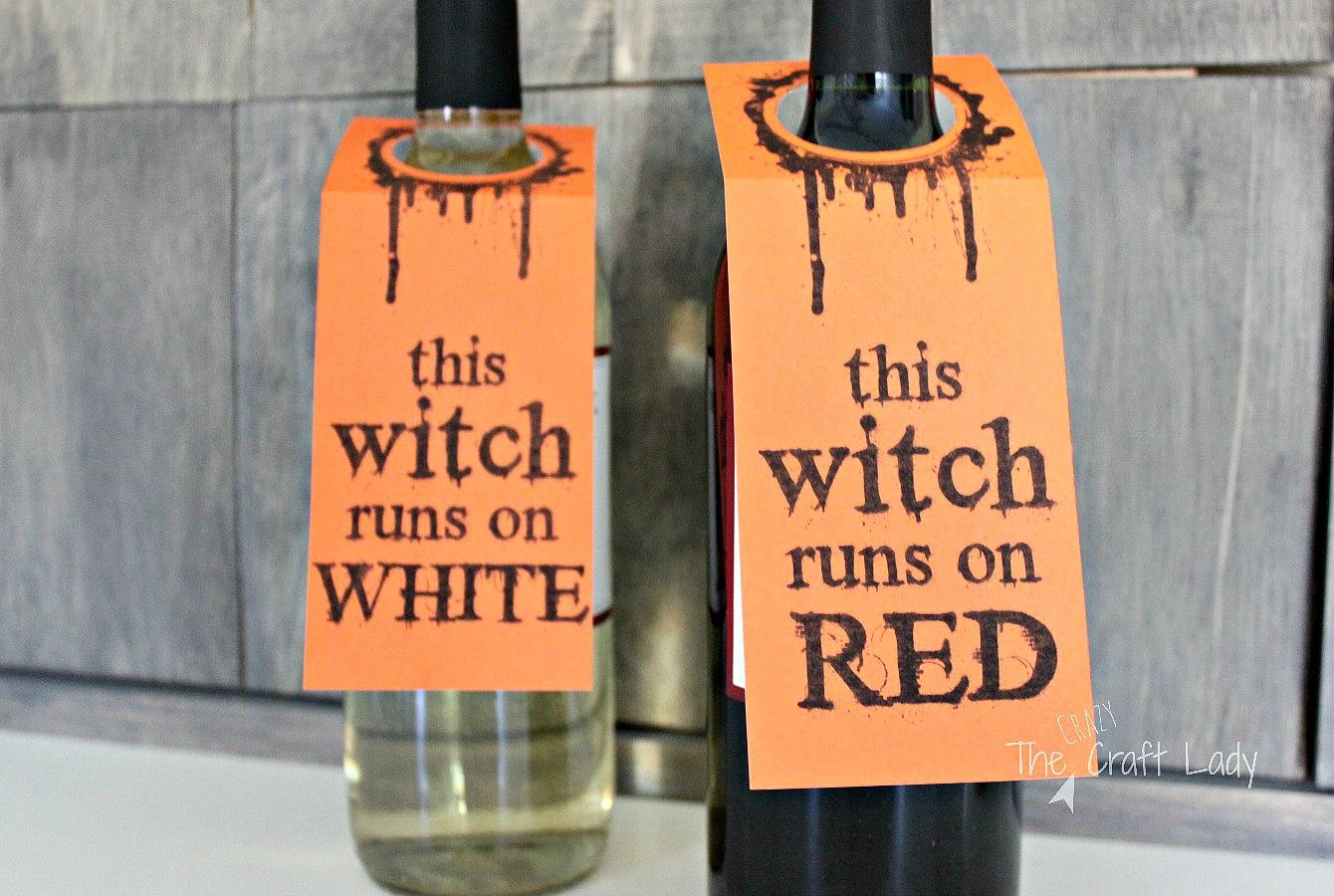 Halloween Wine Tags - a Free printable - Halloween wine labels