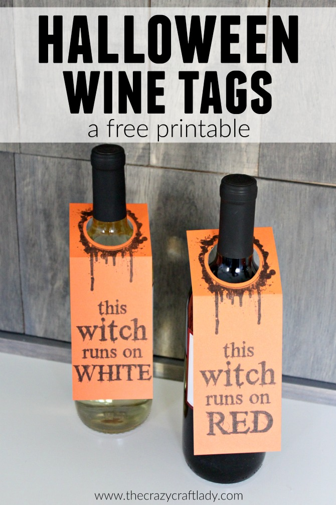 Halloween Wine Tags - free printable - This witch runs on red - printable Halloween wine labels