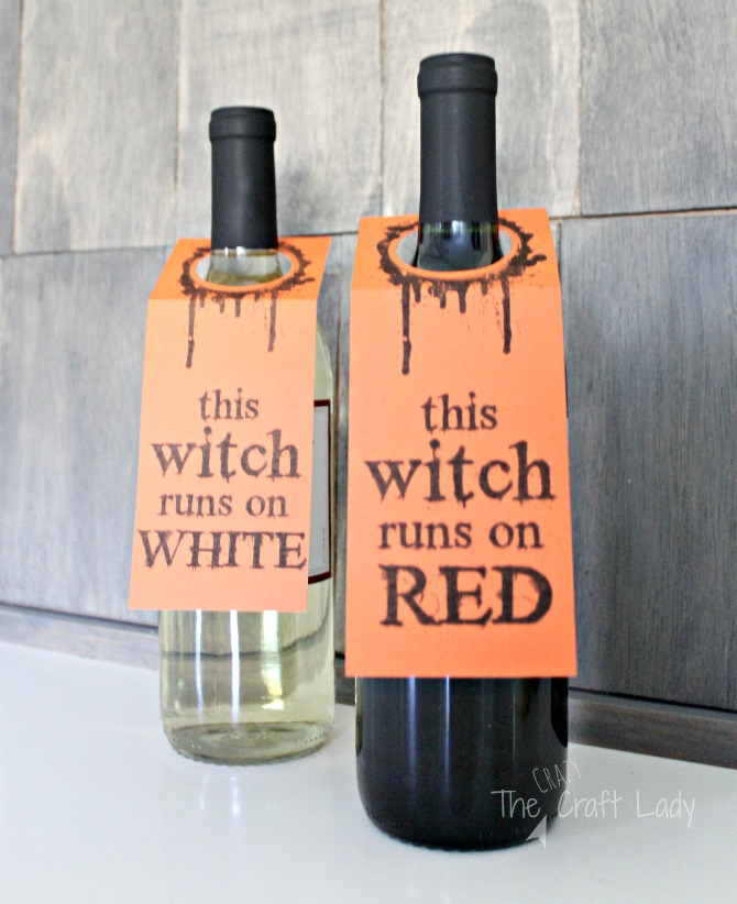 free printable wine tags - Halloween wine labels - This witch runs on red wine