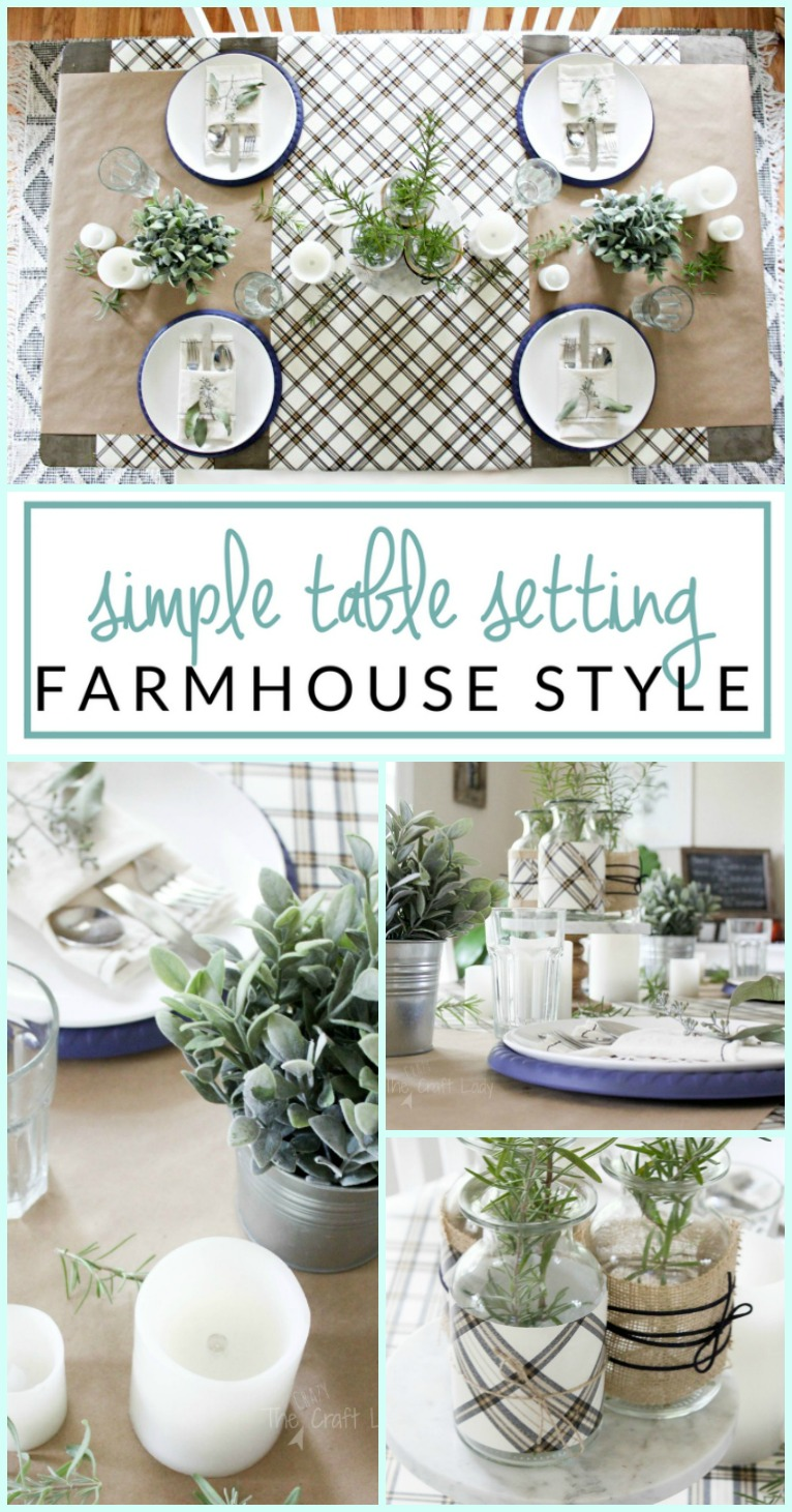 Tips for a simple farmhouse table setting - how to decorate a neutral tablescape that pops... on a budget!