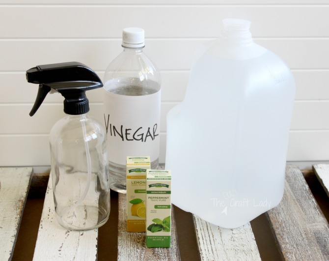 Supplies - how to make lemon peppermint all purpose cleaner with vinegar and essential oils