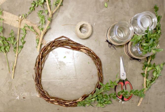 DIY dollar store boxwood wreath
