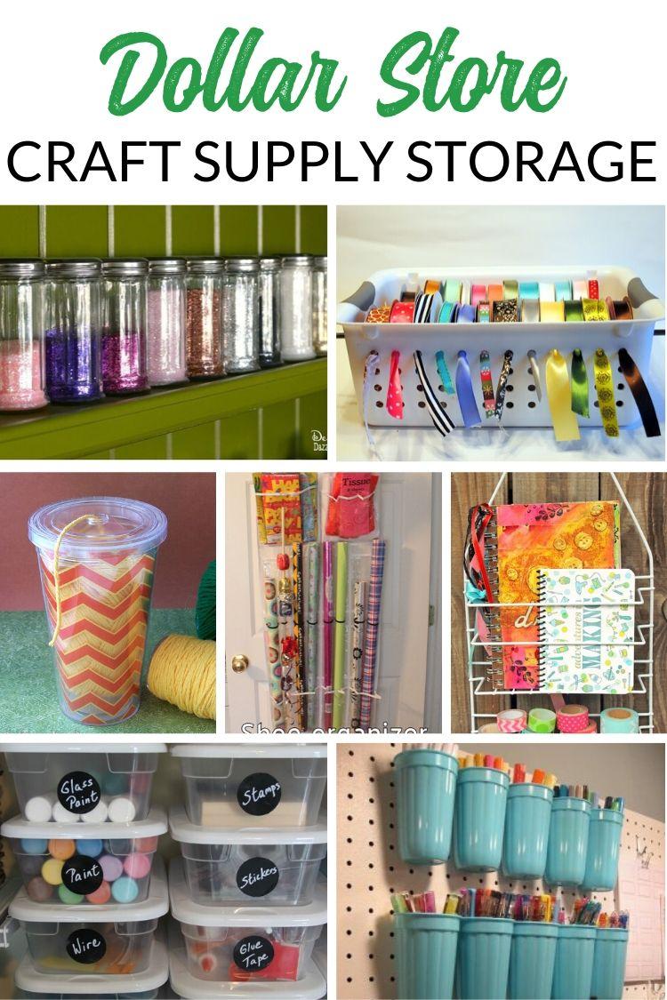 Dollar Store Craft Supply Storage and Craft Room Organizing Ideas