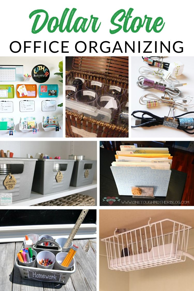Dollar Store Home Office Organizing - Get your office supplies organized with these clever dollar store organizing hacks