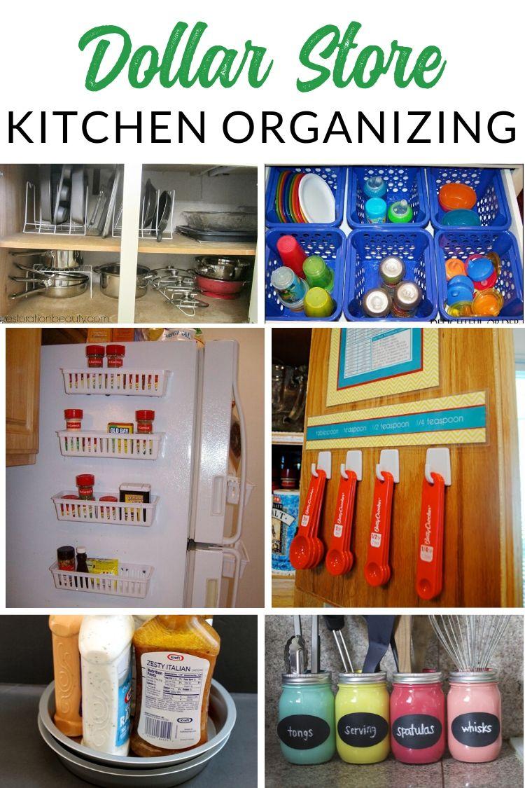 Dollar Store Kitchen Organizing - GENIUS dollar store organizing hacks for kitchen, pantry, and fridge
