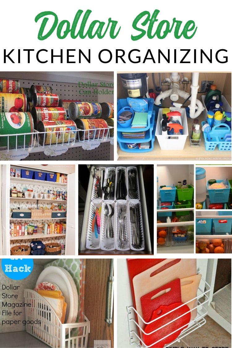 Dollar Store Pantry + Fridge Organizing - GENIUS dollar store organizing hacks for kitchen, pantry, and fridge