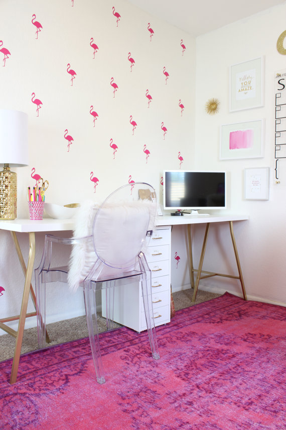 Flamingo Office Feature Wall