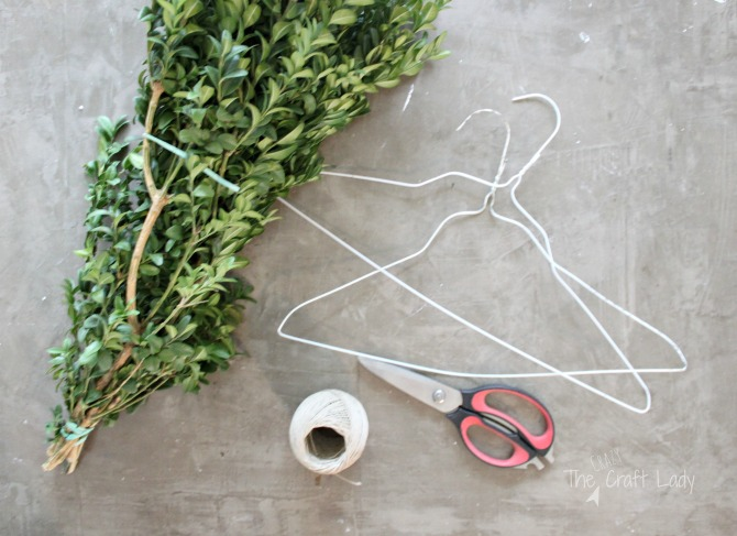how to make a boxwood wreath using a hanger wreath form