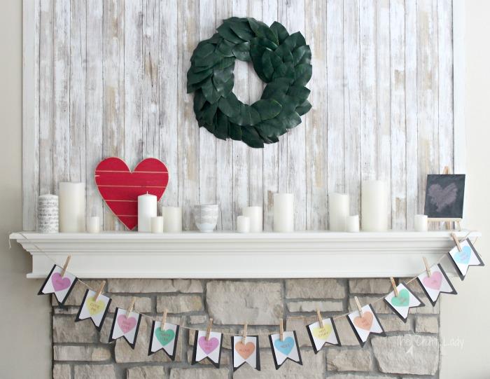 Conversation Heart Banner + Valentine Mantel