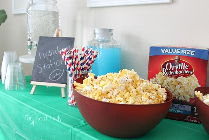 DIY Popcorn Bar and Football Party
