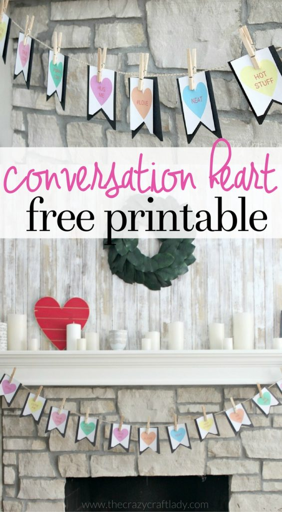 FREE Printable Conversation Heart Banner for Valentine's Day from The Crazy Craft Lady