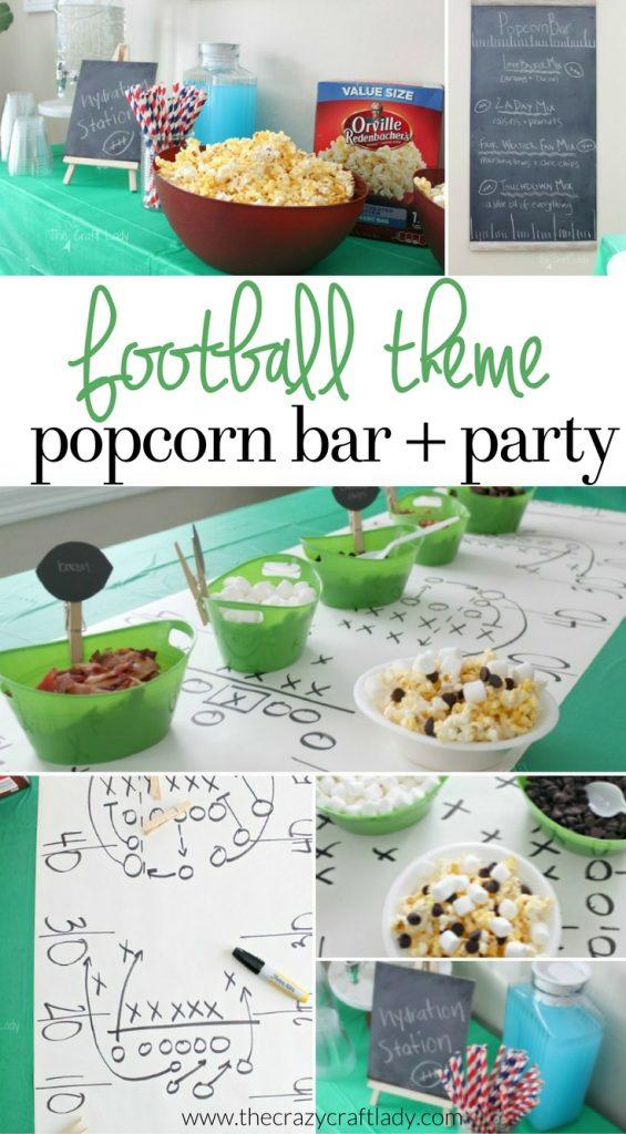 Football Theme Popcorn Bar Idea