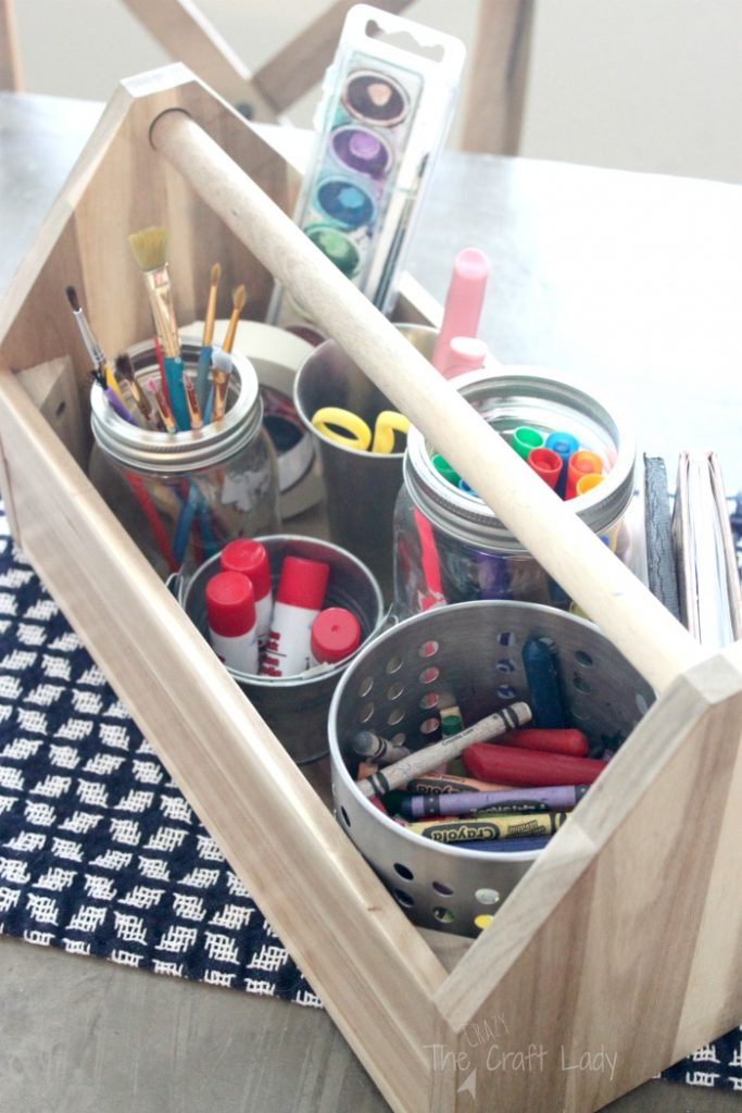 Organize kids art supplies with this craft caddy - a simple Ikea hack for craft supply organization