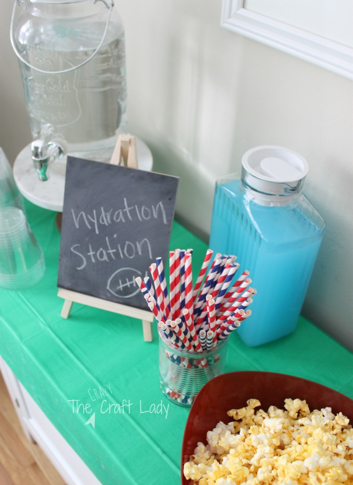 football popcorn bar and hydration station