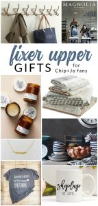 The ultimate list of Fixer Upper Gift Ideas. Do you have a Fixer Upper fan in your life? Do you need to buy them a gift? Browse this gift guide to pick the perfect present for your Fixer Upper fan! If they love Chip + Joanna Gaines, they will love these fresh farmhouse-inspired gifts.