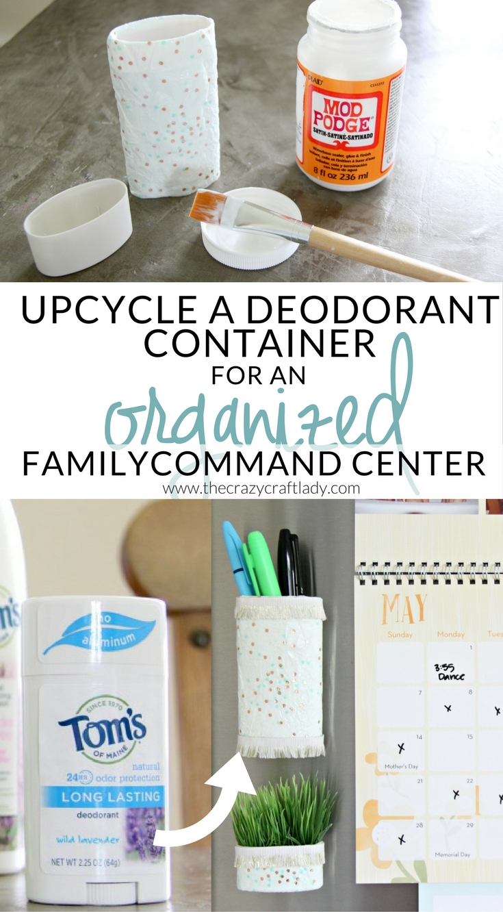 Get organized and repurpose everyday items! Upcycle a Deodorant Container to make a magnetic pen holder that will keep your fridge and family organized.