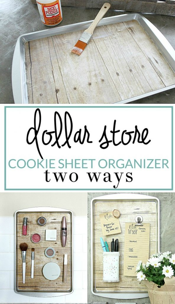 How to make a magnetic organizer from a dollar store cookie sheet.