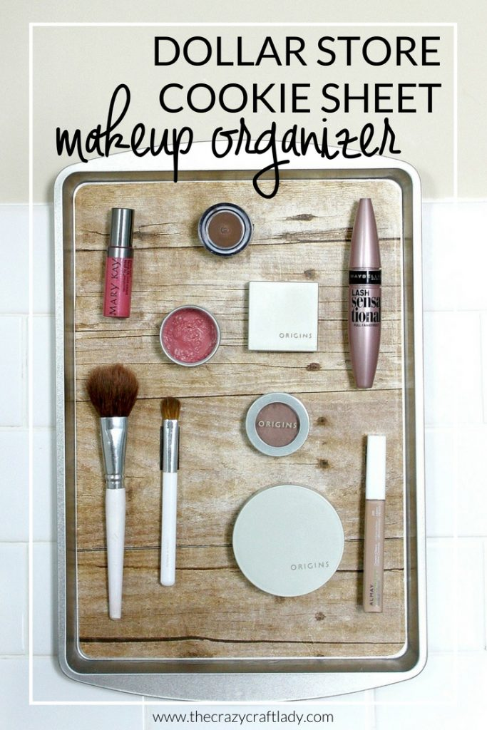 What a genius bathroom organizing solution! Make a simple magnetic organizer for your makeup... using a cookie sheet.