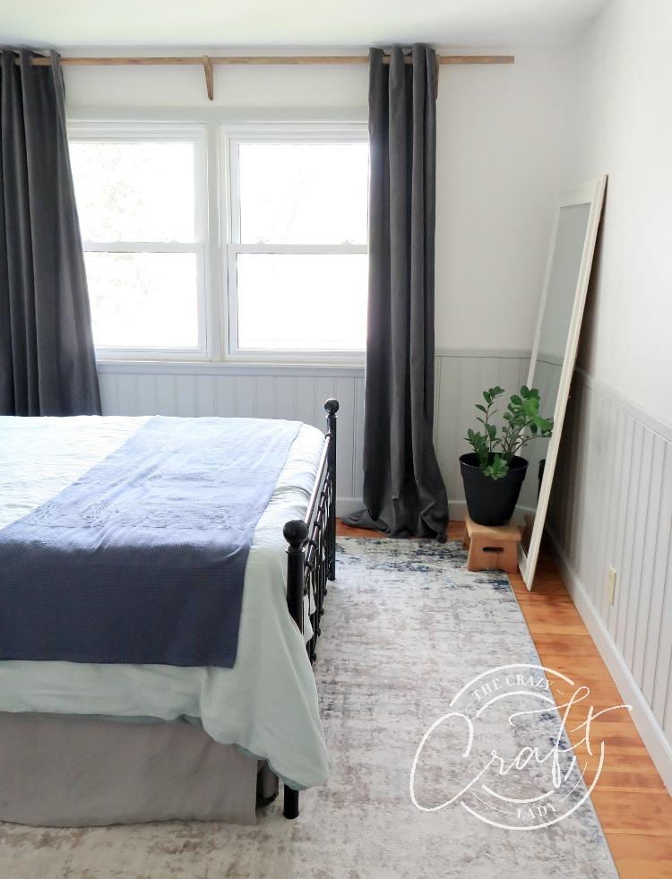 DIY custom length wooden curtain rod and brackets