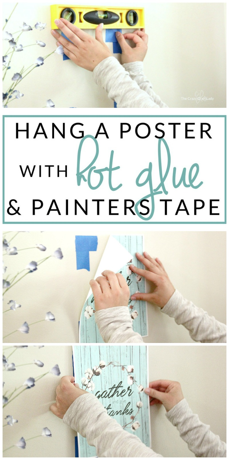 Learn how to hang a poster without damaging your walls - using painters tape and hot glue. This is such a genius damage-free wall decorating technique that is perfect for dorm rooms, apartments, and renters.