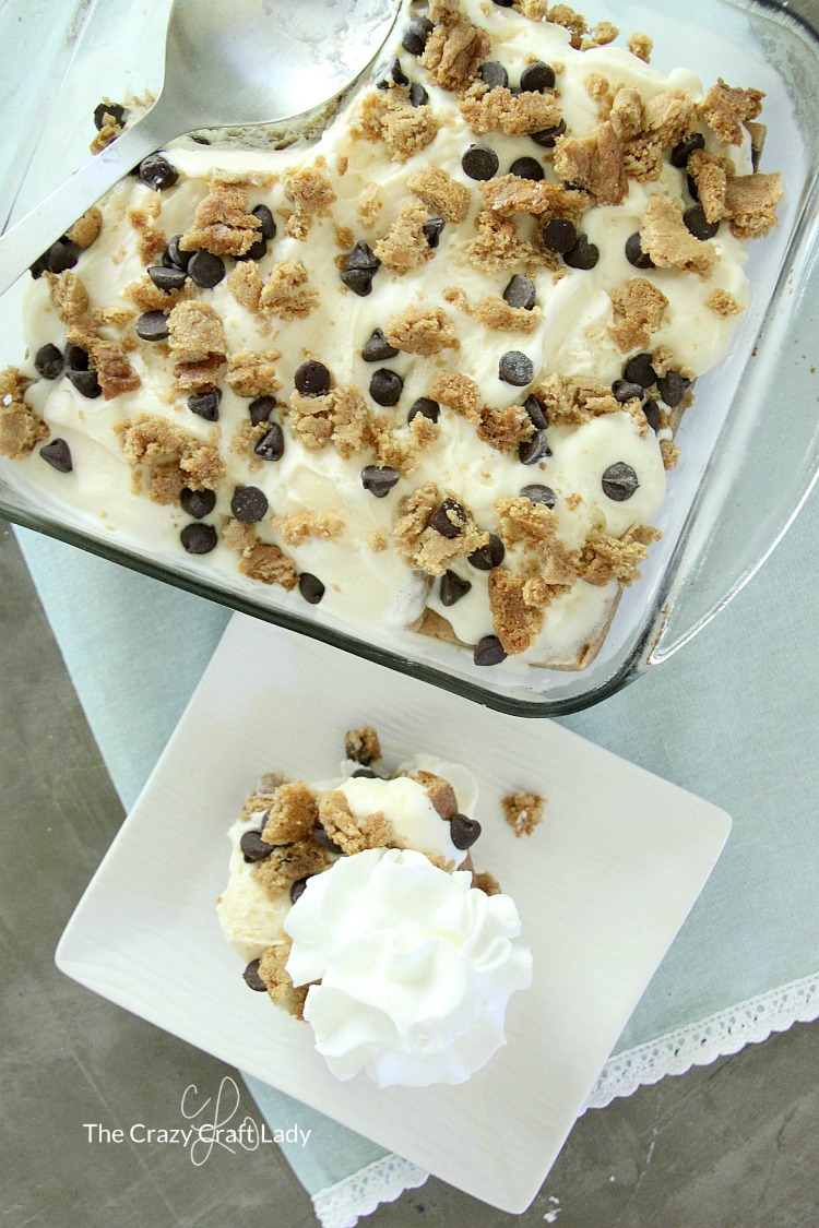 Whip up an easy and delicious icebox cake layered with peanut butter chocolate chip cookies, vanilla ice cream, and peanut butter. This is the perfect dessert recipe for your summer gathering!