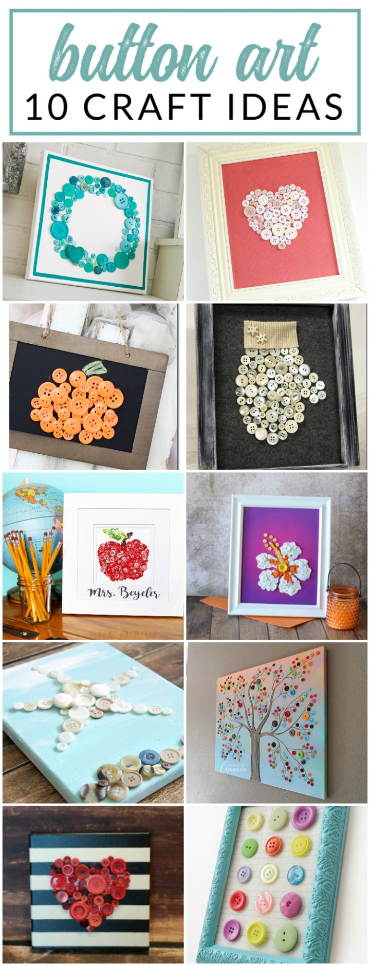 These button art ideas are ADORABLE! Give one of these button and canvas crafts a try - I've gathered 25 super cute projects for inspiration.