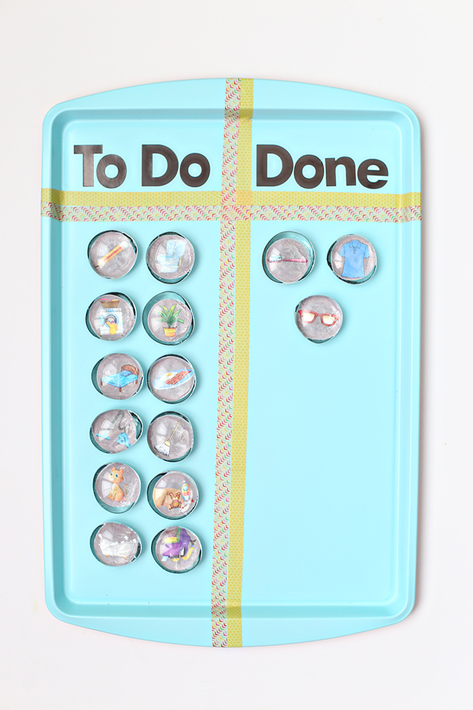 Magnetic chore chart from a painted baking sheet