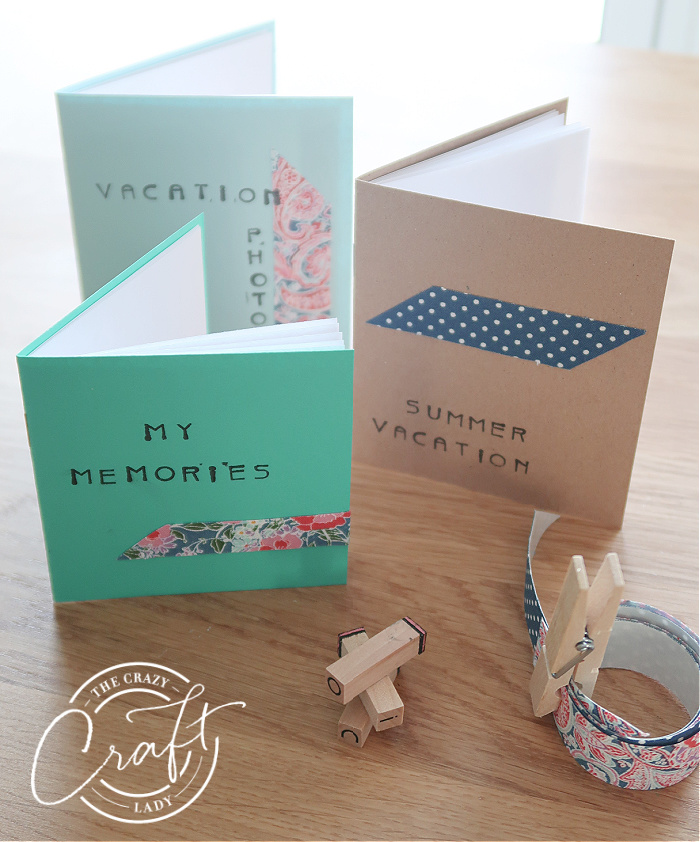 DIY mini scrapbooks made from colorful paper and ink stamps