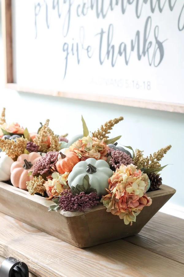 Dough Bowl & Pumpkin Fall Centerpiece