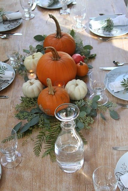 Natural Fall Pumpkin Centerpiece
