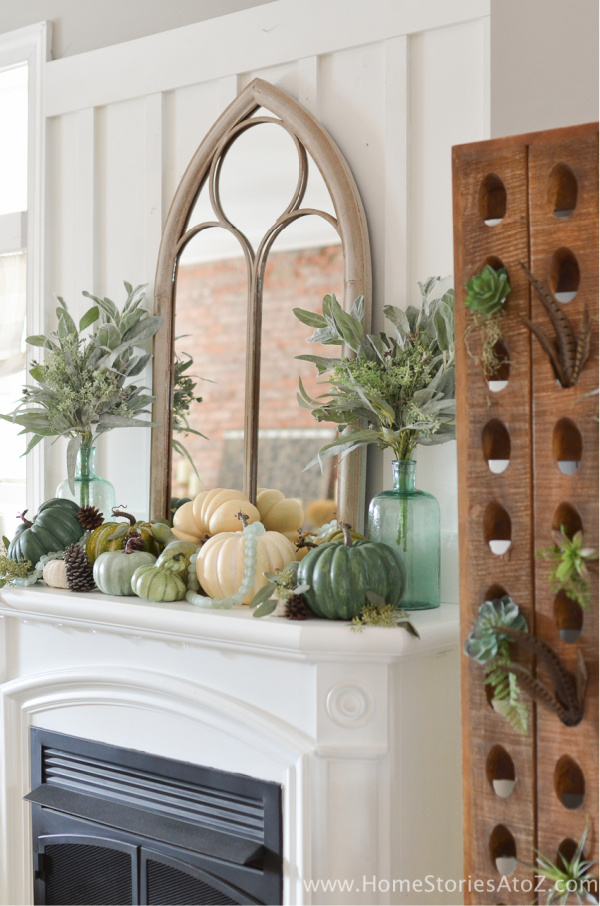 Neutral Pumpkin Mantel Decor
