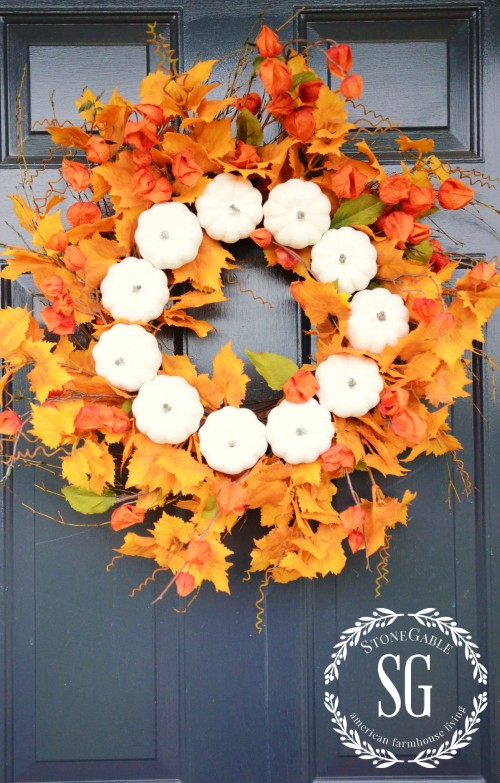 White Pumpkin Fall Wreath
